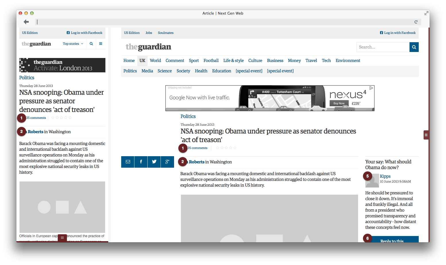 An example article wireframe for the Guardian responsive site, showing small and large screen versions side by side.